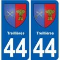 44 Treillières blason ville autocollant plaque stickers
