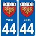 44 Vallet blason ville autocollant plaque stickers