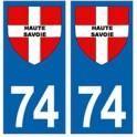 74 Haute Savoie croix autocollant plaque