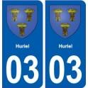 03 Huriel coat of arms, city sticker, plate sticker