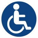 Autocollant logo Handicapé rond fond bleu Hancicap Handicaped Mobilité réduite stickers adhésif