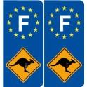 Stickers Sticker F - Kangaroo Australia France Sticker Sticker Plaque immatriculation