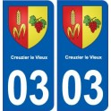03 Creuzier-le-Vieux, coat of arms, city sticker, plate sticker