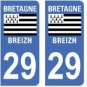 29 Finistère autocollant plaque