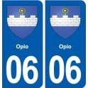 06 Opio coat of arms, city sticker, plate sticker