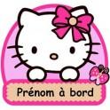 Autocollant Sticker Bébé à Bord Personnalisé Hello Kitty