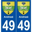 49 Andrezé coat of arms sticker plate stickers city