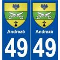 49 Andrezé blason autocollant plaque stickers ville