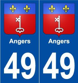 droits 49 Angers blason autocollant plaque stickers ville