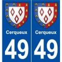 49 Cerqueux blason autocollant plaque stickers ville