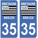 35 Ille et Vilaine autocollant plaque