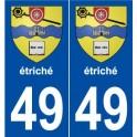 49 étriché coat of arms sticker plate stickers city