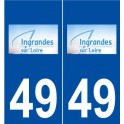 49 Ingrandes logo sticker plate stickers city