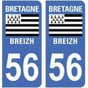 56 Morbihan autocollant plaque