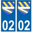 02 Aisne autocollant plaque blason armoiries stickers