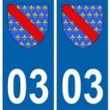 03 Allier autocollant plaque blason armoiries stickers