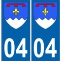 04 Alpes de Haute Provence autocollant plaque blason armoiries stickers