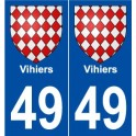 49 Vihiers coat of arms sticker plate stickers city