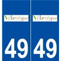 49 Villevêque logo autocollant plaque stickers ville