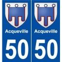 50 Acqueville blason autocollant plaque stickers ville