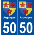 50 Argouges blason autocollant plaque stickers ville