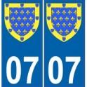 07 Ardèche autocollant plaque blason armoiries stickers département