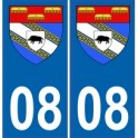 08 Ardennes autocollant plaque blason armoiries stickers département