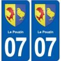 07 Le Pouzin blason ville autocollant plaque stickers
