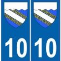 10 Aube autocollant plaque blason armoiries stickers département