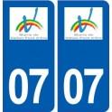 07 Vallon-Pont-d'arc logo city sticker, plate sticker