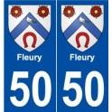 50 Fleury blason autocollant plaque stickers ville