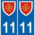 11 Aude autocollant plaque blason armoiries stickers département
