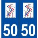 50 Mortain logo autocollant plaque stickers ville