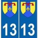 13 Bouches du Rhône autocollant plaque blason armoiries stickers département