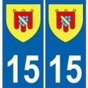 15 Cantal autocollant plaque blason armoiries stickers département