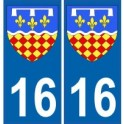 16 Charente autocollant plaque blason armoiries stickers département