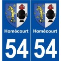 54 Homécourt coat of arms sticker plate stickers city