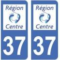 37 Indre et Loire autocollant plaque