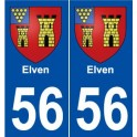 56 Elven blason autocollant plaque stickers ville