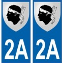 2A Haute-Corse autocollant plaque blason armoiries stickers département