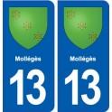 13 Mollégès coat of arms, city sticker, plate sticker