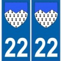 22 Côtes d'Armor autocollant plaque blason armoiries stickers département