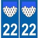 22 Côtes d'Armor autocollant plaque blason armoiries stickers département