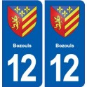 12 Bozouls blason ville autocollant plaque sticker
