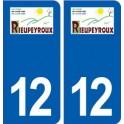 12 Rieupeyroux logo ville autocollant plaque sticker