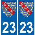 23 Creuse autocollant plaque blason armoiries stickers département