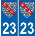 23 Creuse autocollant plaque blason armoiries stickers département