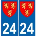 24 Dordogne autocollant plaque blason armoiries stickers département