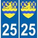 25 Doubs autocollant plaque blason armoiries stickers département