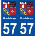57 Mondelange blason autocollant plaque stickers ville